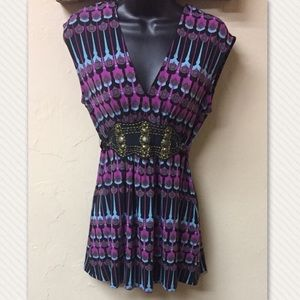 Rampage Sleeveless Beaded Tie Back Top Blouse